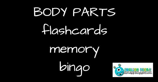 Body Parts flashcards memory bingo