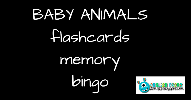 Baby Animals flashcards, memory, bingo, I spy, Matching