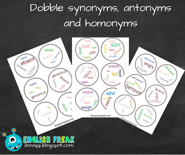 DOBBLE homonyms, synonyms and antonyms (printables)