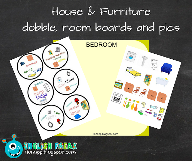 HOUSE: ROOMS AND FURNITURE PART 1: dobble, rooms (printables)