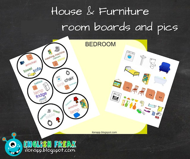 HOUSE: ROOMS AND FURNITURE PART 1: spotting game, rooms (printables)