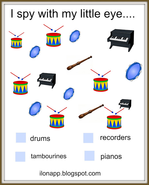 Musical Instruments flashcards memory I Spy