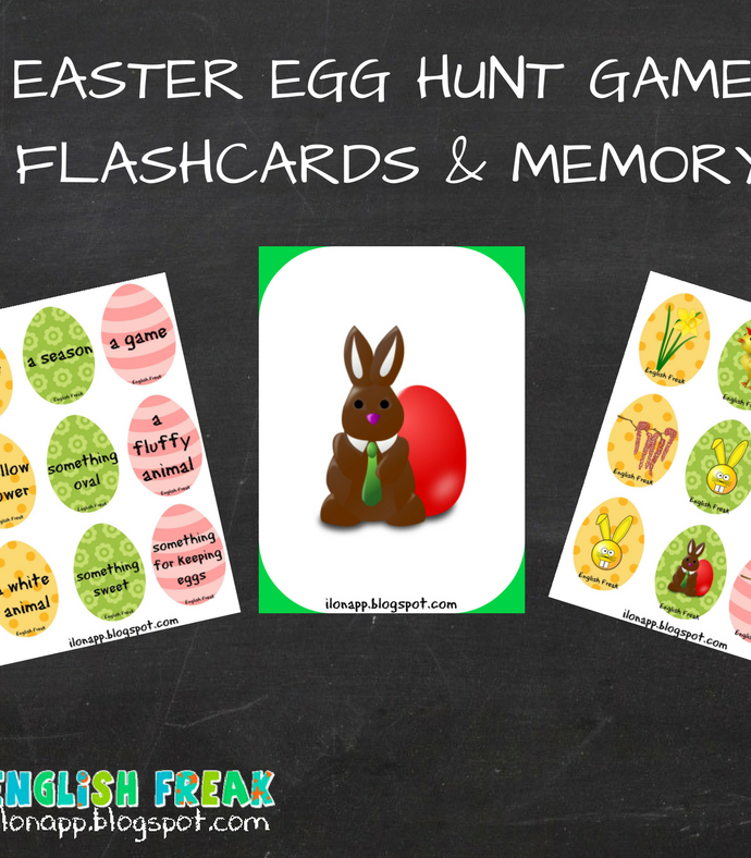 Easter Egg Hunt, flashcards, memory (printable)