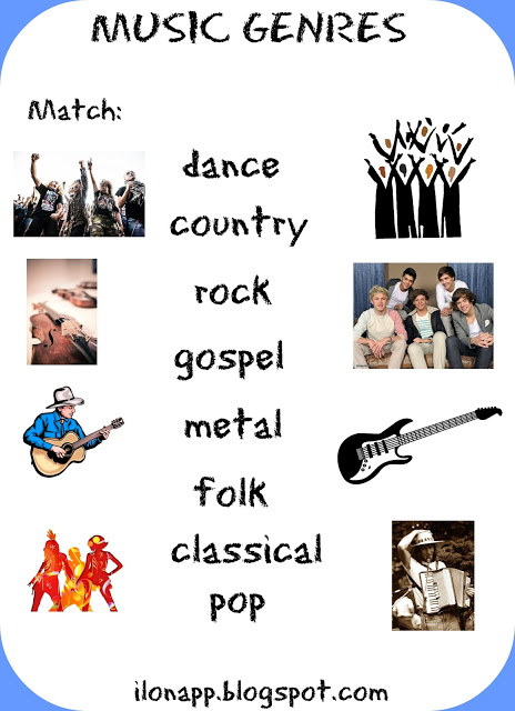 Music Genres flashcards, word cards and a worksheet
