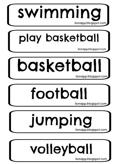 SPORTS FLASHCARDS, WORD CARDS AND CLASSIFICATION CARDS