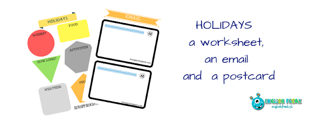HOLIDAYS - a worksheet, an email and  a postcard