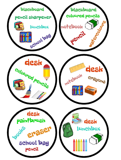 SCHOOL OBJECTS BINGO, FLASHCARDS AND DOBBLE