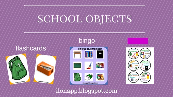 SCHOOL OBJECTS BINGO, FLASHCARDS AND SPOTTING GAME (PRINTABLE)
