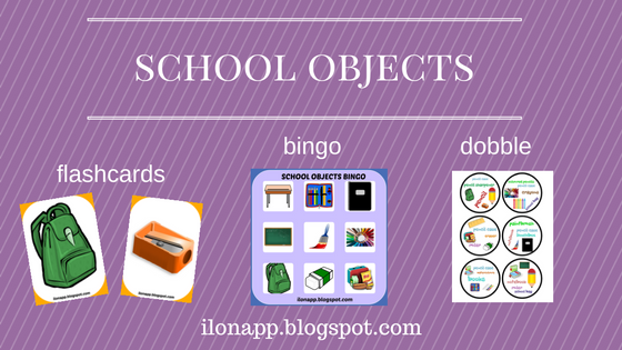 SCHOOL OBJECTS BINGO, FLASHCARDS AND DOBBLE (PRINTABLE)