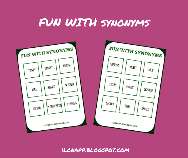 FUN WITH SYNONYMS - BINGO / LOTTO