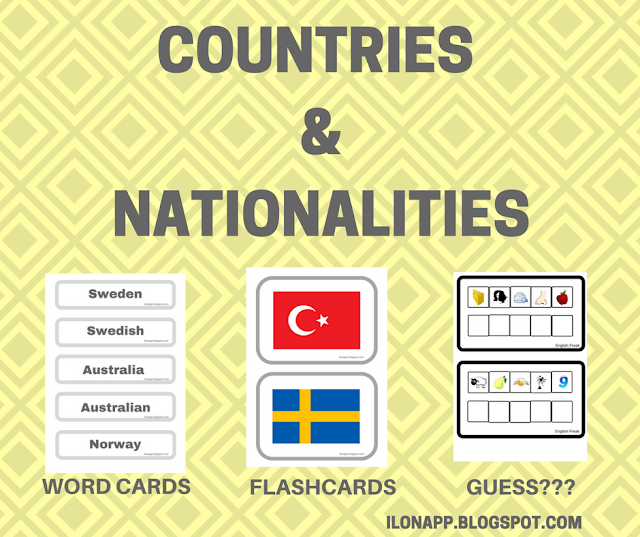 COUNTRIES & NATIONALITIES: FLASHCARDS, WORD CARDS, CODES (PRINTABLE)