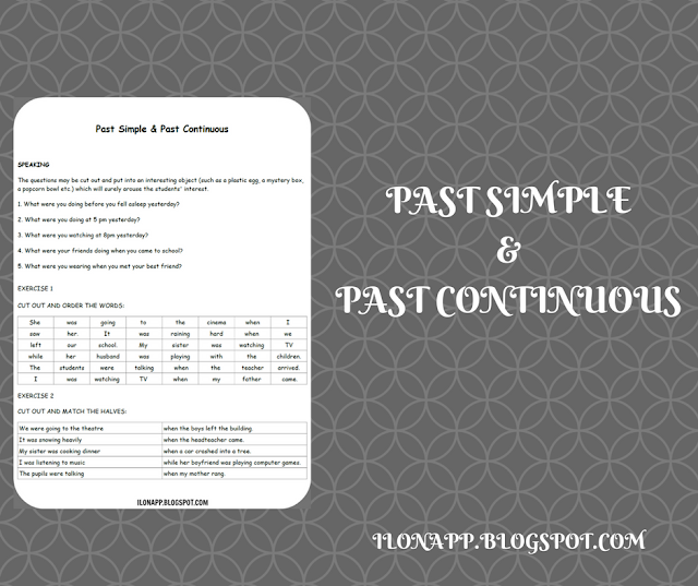 PAST SIMPLE AND PAST CONTINUOUS - SPEAKING QUESTIONS AND SENTENCES TO CUT OR MATCH