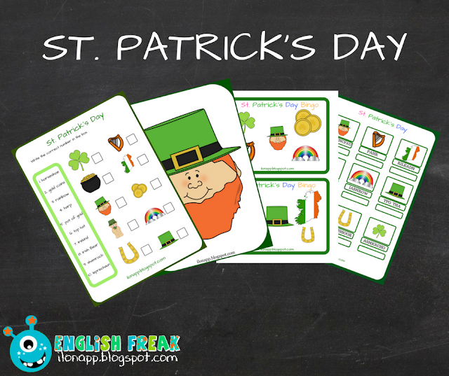 DZIEŃ ŚW. PATRYKA – ST. PATRICK'S DAY FLASHCARDS, BINGO & WORKSHEETS (PRINTABLE)