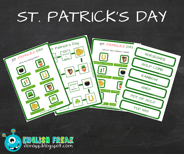 DZIEŃ ŚW. PATRYKA – ST. PATRICK'S DAY BOARD GAME, WORD CARDS & WORKSHEETS (PRINTABLE)