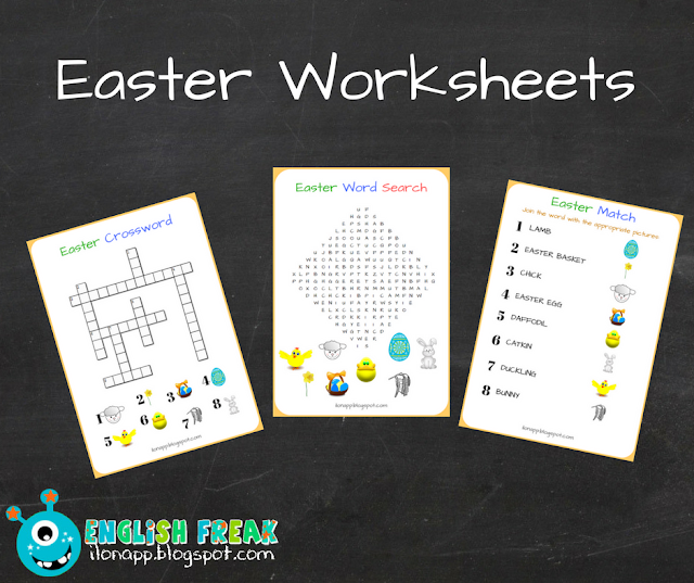 EASTER WORKSHEETS: WORD SEARCH, CROSSWORD & MATCHING (PRINTABLE)