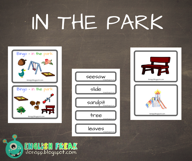 IN THE PARK – FLASHCARDS, WORD CARDS AND BINGO ( PRINTABLE )