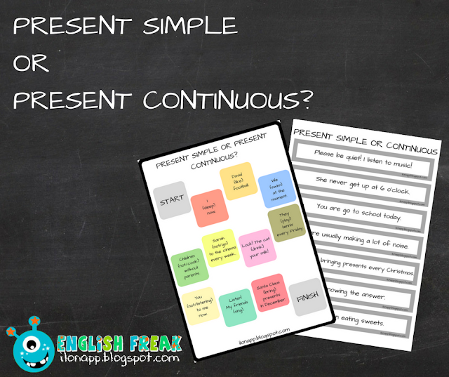 PRESENT SIMPLE OR PRESENT CONTINUOUS? – FIND THE MISTAKE & A BOARDGAME