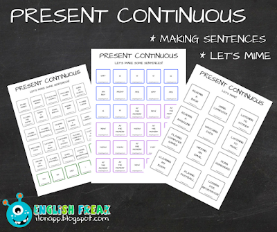 PRESENT CONTINUOUS – LET'S MIME AND MAKE SENTENCES (printable)