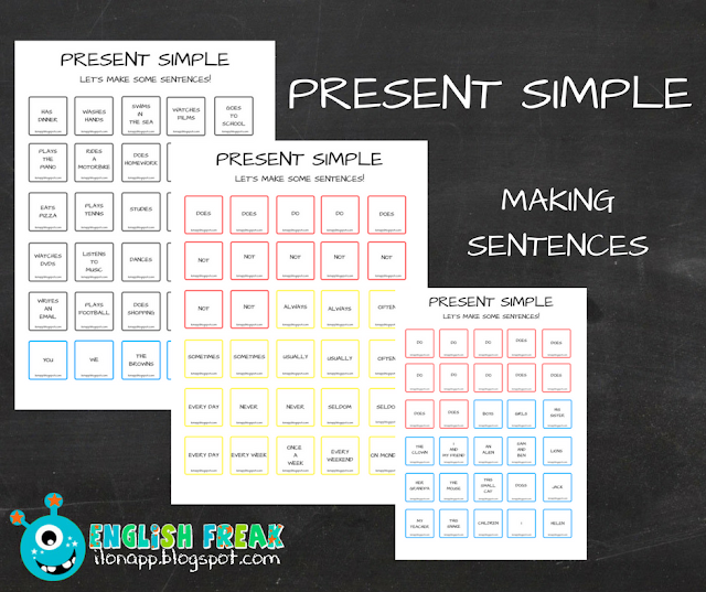 PRESENT SIMPLE – MAKING SENTENCES (PRINTABLE)