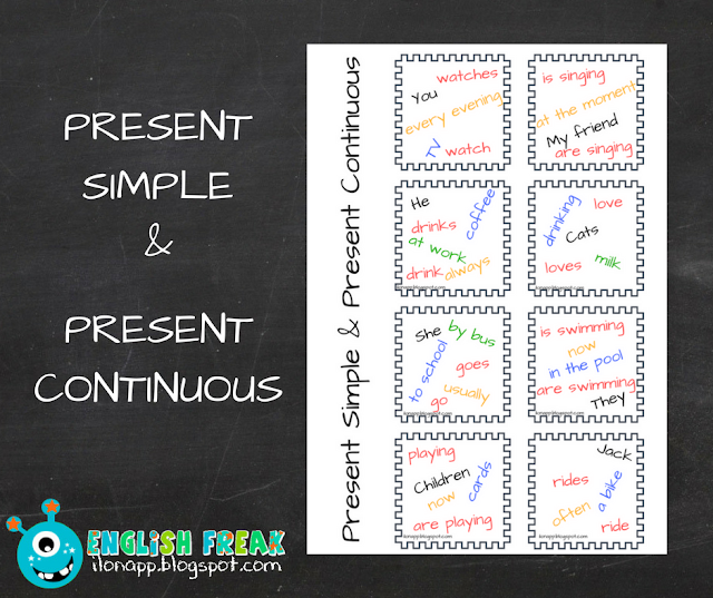 Present Simple and Continuous sentences