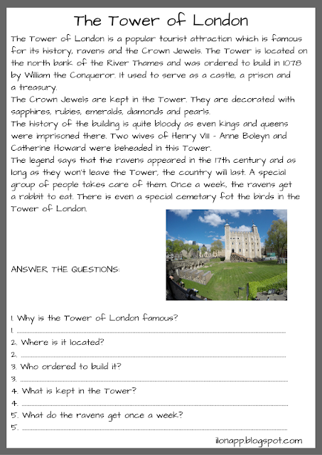 The Tower of London - reading comprehension