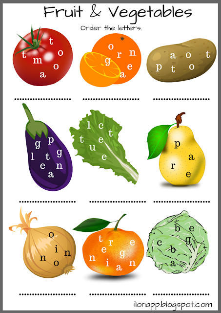 Fruit and vegetables scrambled letters