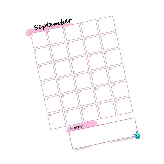 Kalendarz roku szkolnego planner