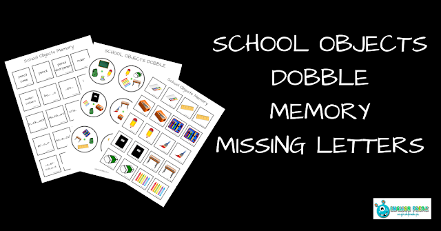 School Objects Dobble and Memory plus missing letters