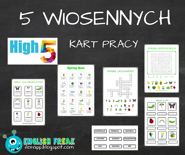 5 WIOSENNYCH KART PRACY – 5 SPRING WORKSHEETS (PRINTABLE)