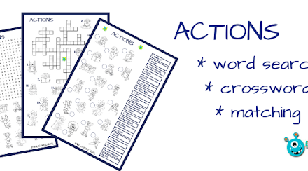 ACTIONS WORKSHEETS: CROSSWORD, WORD SEARCH & MATCHING (printable)