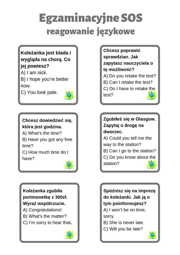 Egzaminacyjne SOS reagowanie językowe