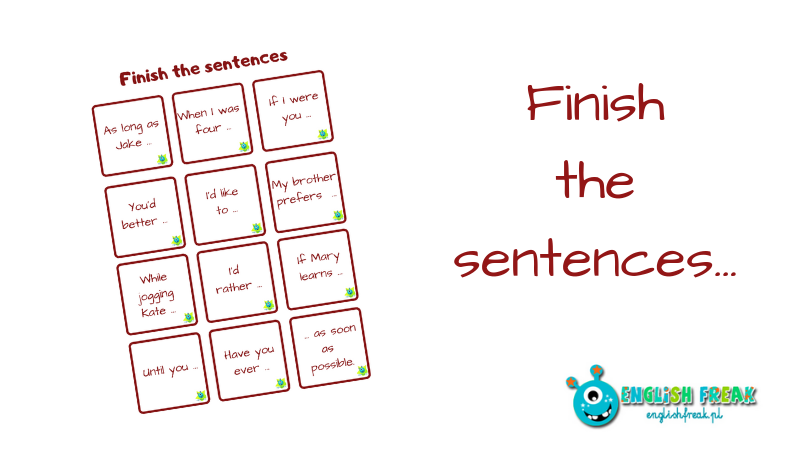 Finish the sentences revision cards