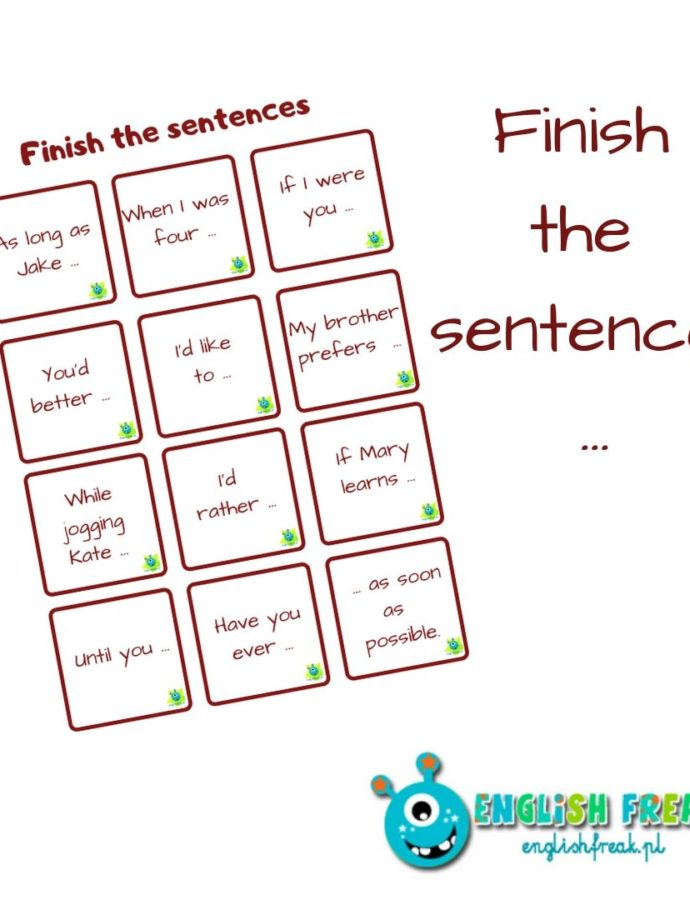 Finish the sentences  – revision cards