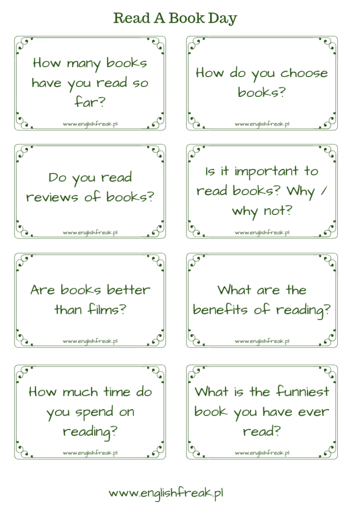 book day speaking cards