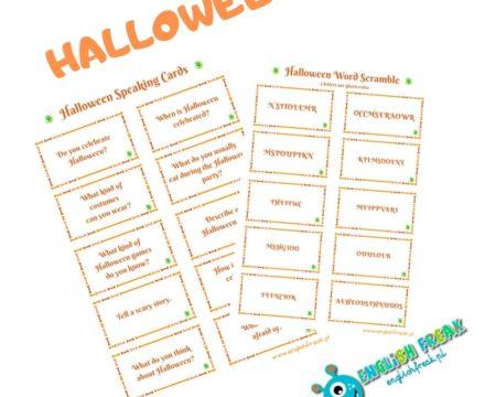 Halloween Speaking Cards & Word Scramble