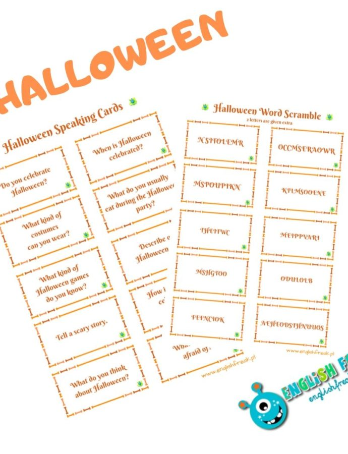 Halloween Speaking Cards & Word Scramble