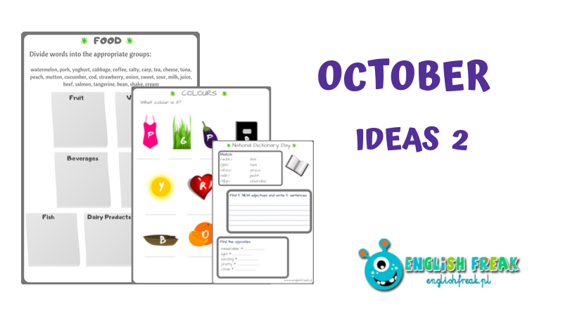 OCTOBER IDEAS and Worksheets Food Dictionary Colours