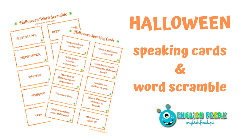 halloween speaking cards and word scramble