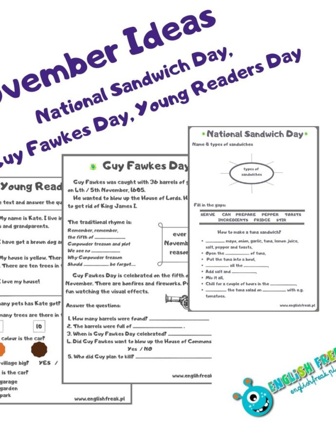 November Ideas – Sandwich Day, Young Readers Day and Guy Fawkes Day