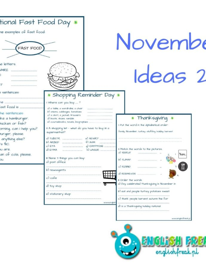 November Ideas Set – Thanksgiving, Fast Food, Shopping, Button Day