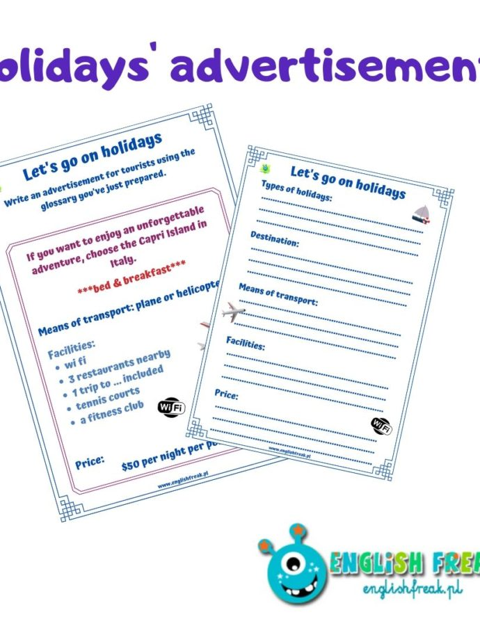 Holidays' advertisements – let's write some leaflets