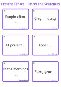 Present Tenses - Finish the sentences 2